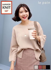 66GIRLSV-Neck Wide Cuffed Sleeve Knit Top