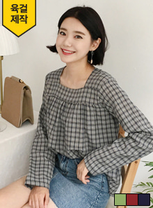 66GIRLSSquare Neck Check Blouse