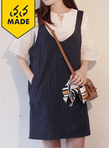 66GIRLSPinstripe Pinafore Dress