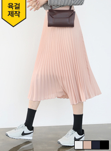 66GIRLSSolid Tone Accordion Pleat Midi Skirt