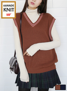 66GIRLSPiping Trim Blouson Sweater Vest