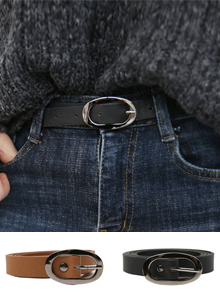 66GIRLSNarrow Oval Buckle Belt