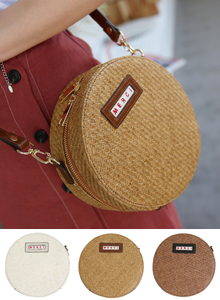 66GIRLSWoven Round Crossbody Bag