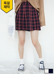 66GIRLSPleated Check Print Skort