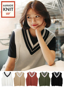 66GIRLSContrast Color V-Neck Knit Vest