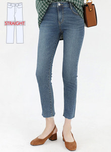 66GIRLSMid Rise Raw Hem Wash Detail Jeans