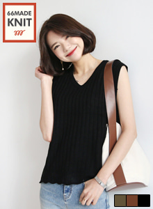 66GIRLSV-Neck Sleeveless Ribbed Top