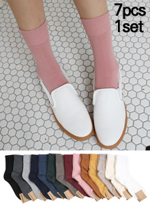 66GIRLS[SET] Solid Tone Quarter Crew Socks Set