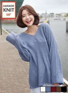66GIRLSV-Neck Ribbed Knit Top