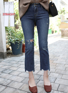 66GIRLSDistressed Straight-Cut Jeans