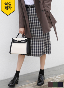 66GIRLS[SET] Check Straight-Cut Midi Skirt