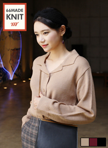 66GIRLSNotched Collar Loose Fit Cardigan