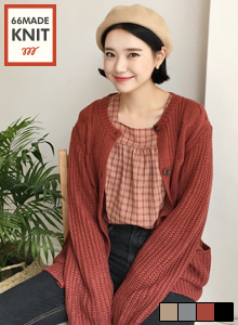 66GIRLSRound Neck Loose Fit Cardigan